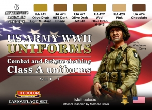 Zestaw kamuflażowych farb LifeColor CS17 WWII US ARMY UNIFORMS SET1 Combat and fatigue clothing Class A uniforms